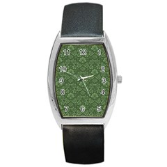 Damask Green Barrel Style Metal Watch by vintage2030