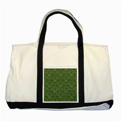 Damask Green Two Tone Tote Bag