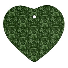 Damask Green Heart Ornament (two Sides) by vintage2030