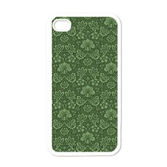 Damask Green Apple Iphone 4 Case (white) by vintage2030