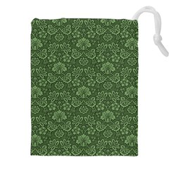 Damask Green Drawstring Pouch (xxl) by vintage2030