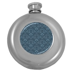 Damask Blue Round Hip Flask (5 Oz) by vintage2030
