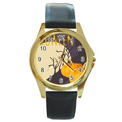 Halloween 979495 1280 Round Gold Metal Watch by vintage2030