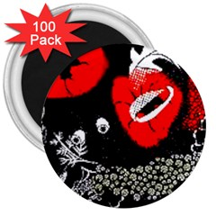 Red Poppy Flowers On Gray Background By Flipstylez Designs 3  Magnets (100 Pack)