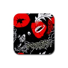 Red Poppy Flowers On Gray Background By Flipstylez Designs Rubber Square Coaster (4 Pack)  by flipstylezdes