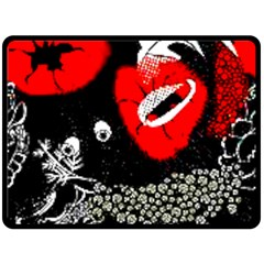 Red Poppy Flowers On Gray Background By Flipstylez Designs Fleece Blanket (large)