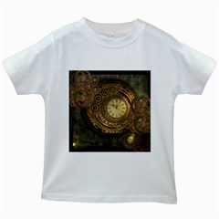 Awesome Steampunk Design, Clockwork Kids White T Shirts by FantasyWorld7