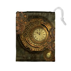 Awesome Steampunk Design, Clockwork Drawstring Pouch (large) by FantasyWorld7