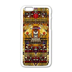 Lady Panda In The Apple Cave With Moon And Meteroits Apple Iphone 6/6s White Enamel Case