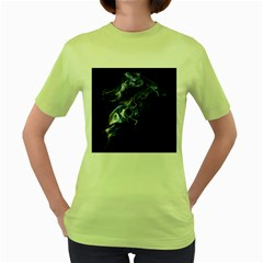 Smoke Flame Dynamic Wave Motion Women s Green T Shirt
