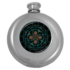 Abstract Digital Geometric Pattern Round Hip Flask (5 Oz)
