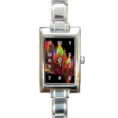 Abstract Digital Art Fractal Rectangle Italian Charm Watch
