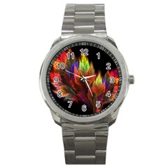 Abstract Digital Art Fractal Sport Metal Watch by Samandel