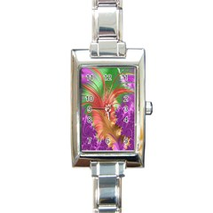 Fractal Purple Green Orange Yellow Rectangle Italian Charm Watch