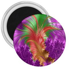 Fractal Purple Green Orange Yellow 3  Magnets