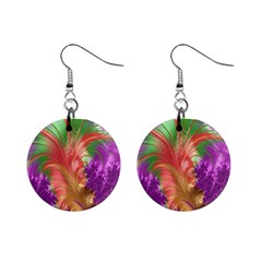 Fractal Purple Green Orange Yellow Mini Button Earrings by Samandel