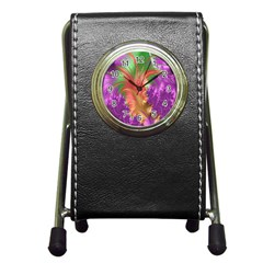 Fractal Purple Green Orange Yellow Pen Holder Desk Clock