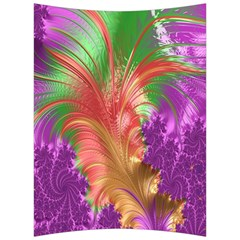 Fractal Purple Green Orange Yellow Back Support Cushion by Samandel