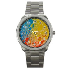 Bubbles Abstract Lights Yellow Sport Metal Watch