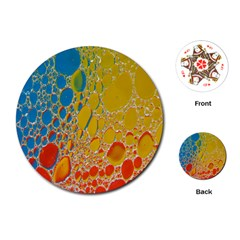 Bubbles Abstract Lights Yellow Playing Cards (round)