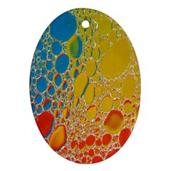 Bubbles Abstract Lights Yellow Oval Ornament (two Sides)