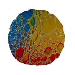 Bubbles Abstract Lights Yellow Standard 15  Premium Round Cushions