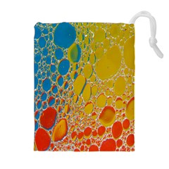 Bubbles Abstract Lights Yellow Drawstring Pouch (xl)