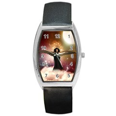 Awesome Dark Fairy In The Sky Barrel Style Metal Watch by FantasyWorld7