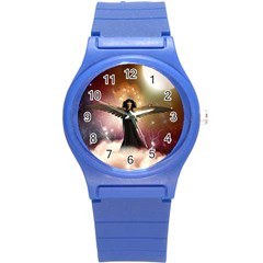 Awesome Dark Fairy In The Sky Round Plastic Sport Watch (s) by FantasyWorld7