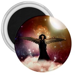 Awesome Dark Fairy In The Sky 3  Magnets by FantasyWorld7