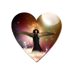 Awesome Dark Fairy In The Sky Heart Magnet by FantasyWorld7