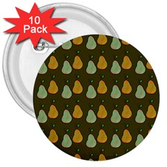 Pears Brown 3  Buttons (10 Pack)