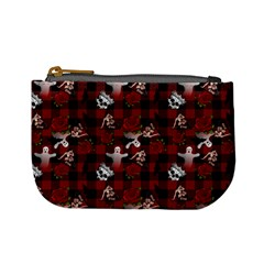 Gothic Woman Rose Bats Pattern Mini Coin Purse