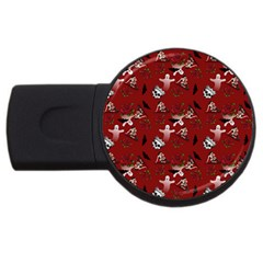 Gothic Woman Rose Bats Pattern Red Usb Flash Drive Round (2 Gb) by snowwhitegirl
