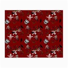 Gothic Woman Rose Bats Pattern Red Small Glasses Cloth by snowwhitegirl