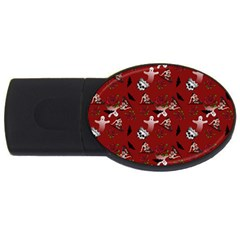 Gothic Woman Rose Bats Pattern Red Usb Flash Drive Oval (4 Gb) by snowwhitegirl
