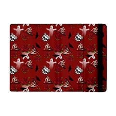 Gothic Woman Rose Bats Pattern Red Apple Ipad Mini Flip Case by snowwhitegirl