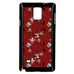 Gothic Woman Rose Bats Pattern Red Samsung Galaxy Note 4 Case (black) by snowwhitegirl