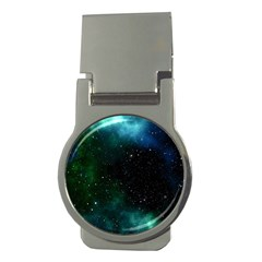 Galaxy Sky Blue Green Money Clips (round)  by snowwhitegirl