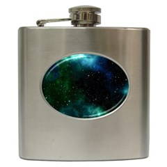 Galaxy Sky Blue Green Hip Flask (6 Oz) by snowwhitegirl