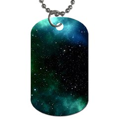 Galaxy Sky Blue Green Dog Tag (two Sides) by snowwhitegirl