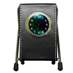 Galaxy Sky Blue Green Pen Holder Desk Clock by snowwhitegirl