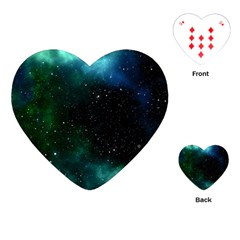 Galaxy Sky Blue Green Playing Cards (heart) by snowwhitegirl