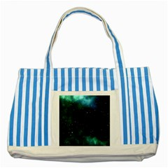Galaxy Sky Blue Green Striped Blue Tote Bag by snowwhitegirl