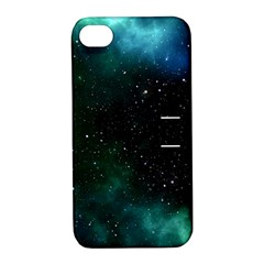 Galaxy Sky Blue Green Apple Iphone 4/4s Hardshell Case With Stand by snowwhitegirl