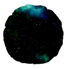 Galaxy Sky Blue Green Large 18  Premium Flano Round Cushions by snowwhitegirl