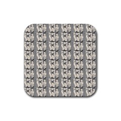 Vintage Girl With Basket Comic Rubber Coaster (square)  by snowwhitegirl