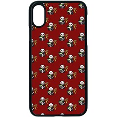 Panda With Bamboo Red Apple Iphone X Seamless Case (black) by snowwhitegirl