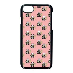 Panda With Bamboo Pink Apple Iphone 8 Seamless Case (black) by snowwhitegirl