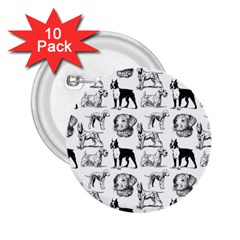 Dog Pattern White 2 25  Buttons (10 Pack)